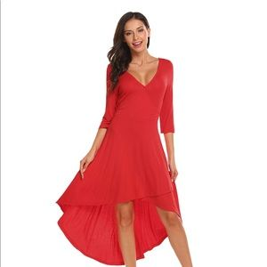 Women's Midi Cocktail Party Dress with Belt